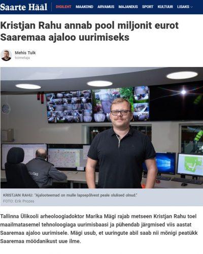 Mehis Tulk (toim). Kristjan Rahu annab pool miljonit eurot Saaremaa ajaloo uurimiseks. – Saarte Hääl.